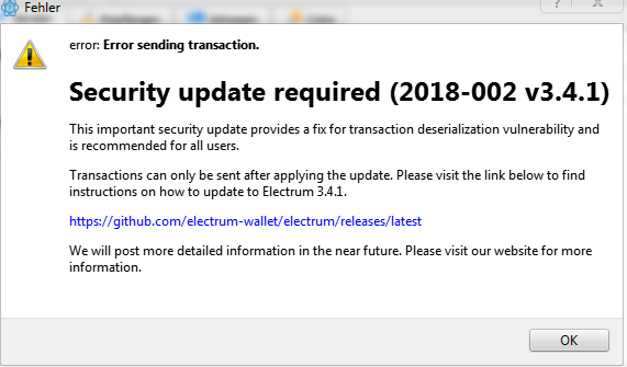 electrum wallet bug popup